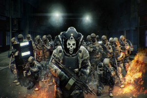 """This is not the """"bad guys"""" in Payday 2. This is the mob after they announced drills and safes for weapons skins."""