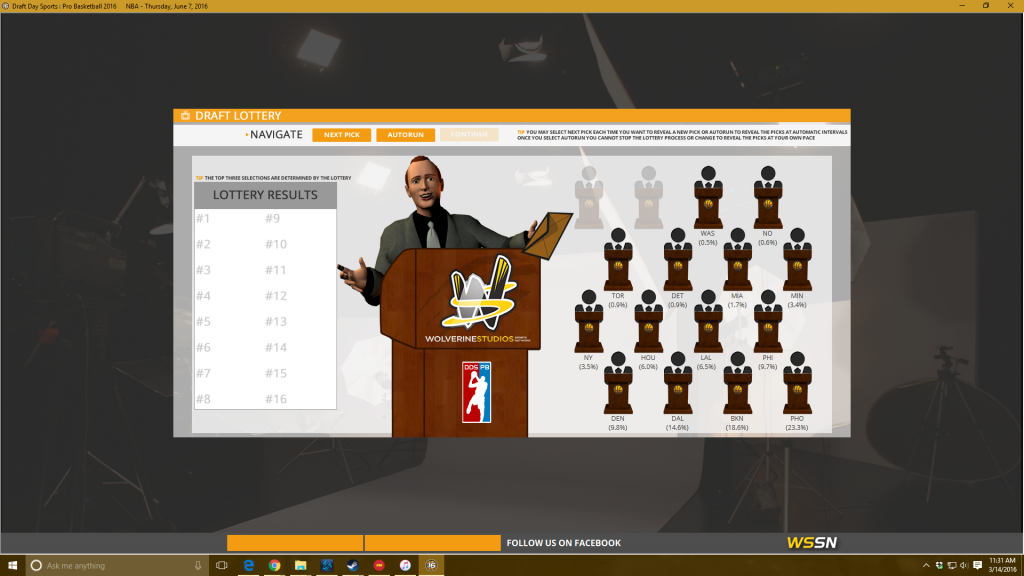 The Lottery screen from Draft Day Sports: Pro Basketball. I have about as much chance of winning the real life lottery as I do coaching the Celtics to glory so far.